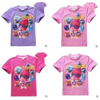 Wholesale Shirt Kids Trolls Top The Good Luck Trolls T shirts Summer Girls CottonTees Casual Trolls Costumes Christmas Gifts