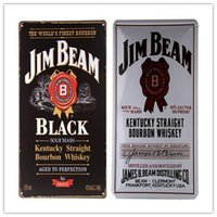 Wholesale Vintage Metal Art Poster Jim B Black White Label TIN SIGN Whiskey Rum Beer Bar Mancave