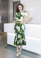 Casual Dresses ball dresses uk - US UK Summer Women New Fashion Runway Designer Dress Green Print Asymmetrical Novelty Maxi Long Dress Female Vestido Sundress