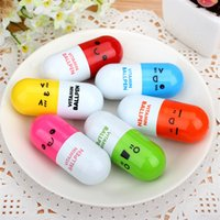 Wholesale Cute Pill Shape Retractable Ballpoint Pen Kawaii pill shape novelty ballpen Lovely learning stationery Kids toy gifts