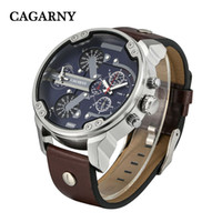 Wholesale Luxury Men s Watches Quartz Watch Men Fashion Wristwatches Leather Watchband Date Dual Time Display Military Watches Men Cagarny