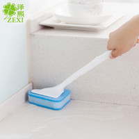 bathroom floor tile cleaner - Long handle triangular sponge brush brush cleaning the bathroom floor tile bathroom toilet brush brush brush