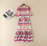auger s - The new Europe and the United States women s spring Runway looks set auger sleeve dress in the printing of tall waist