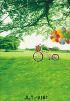 Wholesale spring green screen tree bike photography backdrops vinyl cloth backgrounds photocall for wedding children baby newborn for photo studio