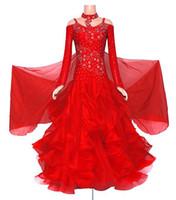 Robe de bal robe de soirée de style nouveau style de la femme à manches longues standard valsa tango stade de costume robe de bal de danse