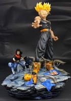 achat en gros de gros chiffres de dragons de résine-Vente en gros-MODÈLE FANS Dragon Ball Z le même paragraphe MRC 37cm avenir Trunks VS Android gk jouet figurine d'action de résine pour Collection