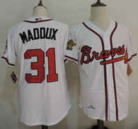 Wholesale Atlanta Deion Sanders John Smoltz Greg Maddux Hank Aaron Tom Glavine White Gray Cream Throwback Jersey