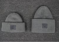 adult male acne - Children and adults fashion hat smiling face ACNE squares Upset to keep warm Male ladies knitting wool hat fall and winter