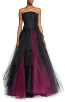 angles club - strapless two tone tulle evening dresses Oscar De La Renta evening gown layered full skirt fitted bodice with angled pleats gown