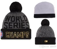 Wholesale New Hot Chicago Cubs Pom Beanies World Series Champs Men Women Sport Team Knitted Skullies Authentic Brand Winter Hats