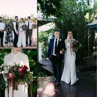 beach weddings australia - 2017 Australia Lace Wedding Dresses with Long Sleeves Wrap Sheath Spaghetti Straps Wedding Bridal Gowns Sweep Train Front Split