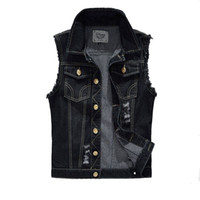Wholesale Denim Vest Mens Jackets Sleeveless Fashion Washed Jeans Waistcoat Mens Tank Top Cowboy Male Ripped Jacket Plus Size XL EDA359