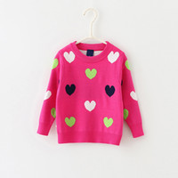animal shape patterns - Baby Kids Clothing girls Sweaters Pullover Spring Autumn Winter Love shape pattern Cotton Thicken Knitwear Knitting for children