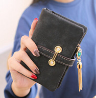 Wholesale The explosion of a short section of Korean students purse female tassel pendant Ladies Wallet Wallet Zipper Scrub