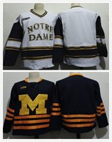 Wholesale Cheap New NCAA Michigan Wolverines Notre Dame Fighting Irish Embroidered College Hockey Jerseys Size S XL