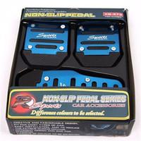 Wholesale Universal PVC Racing Sport Non Slip Aluminum Manual Car Pedals Pad Blue EM