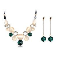 Wholesale Austrian Crystal Fine female Charm wedding jewerly sets for women with Circular Opal Jewelry sets of african