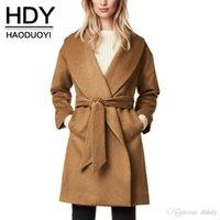 american apparel wool coat - HDY Apparel V neck Longline Woolen Coat Solid Belt Pockets Long Sleeve Trench Office Lady Stylish Outwears Women Clothes
