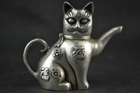 antique chinese tea pot - Chinese Collectible Decorate Handwork Old Tibet silver carving cat Lucky tea pot