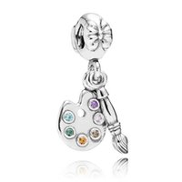 artists circle - Authentic Sterling Silver Bead Charm Cute Artists Palette With Crystal Pendant Bead Fit Women Pandora Bracelet Bangle Diy Jewelry HK3410