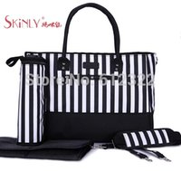 Wholesale pc set skinly Multifunctional nappy bags large capacity mother mummy bag baby diaper bag with stroller klips
