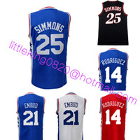 ben red - New ben simmons Jersey Men Stitched joel embiid Jersey embroidery Sergio Rodriguez jersey High quality blue white red