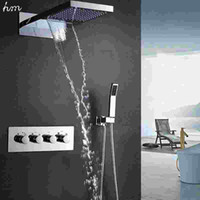 Cold and Hot bathroom fixtures faucets - hm quot Waterfall Rain Shower Sets Faucet Hand Shower SUS304 Luxury Function Spa Waterfall Massage Bathroom Fixture Shower Set