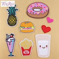Wholesale FENGRISE Sewing Accessories Patchworks Cartoon Embroidered Iron Patches Kids Clothing Felt Shapes Applique Fabric Lace Badge