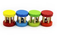 Wholesale 2 Pack Wooden Baby Shaking Bells Musical Instrument Toy with Pillars Color Random
