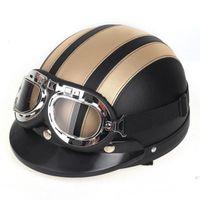 Wholesale Brand New Vintage Motorcycle Helmet Harley Open Face Retro Half Helmets Moto Motocicleta Capacete Casco Casque Kask with Goggles