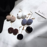 Wholesale Handmade earrings Korean cute adorable plush ball earrings multicolor warm line long sweet girls Earrings R281