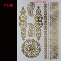 Wholesale Sexy women temporary tattoos gold necklace bracelet metal temporary tattoo products women tattoo flash tattoos