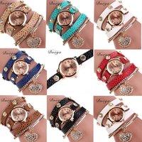Precio de Cuero reloj pulsera corazón-Duoya de lujo de las mujeres de cuero casual pulsera relojes Reloj de cuarzo mujeres reloj de pulsera del corazón pulsera de pulsera Relojes