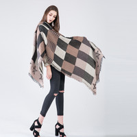Wholesale New Fashion Women s Winter Scarf Poncho Vintage Blanket Women s Lady Knit Imitation cashmere Shawl Cape Cashmere Scarf