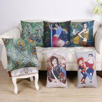 asian sofa - 45cm Fashion Southeast Asian Boho Cotton Linen Fabric Throw Pillow Hot Sale Inch New Home Decor Sofa Back Cushion Car Waist Pillowcase