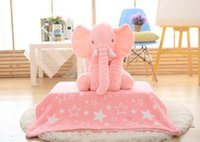 0-12 Months baby soft blanket with toy - 60cm Elephant Pillow with Blanket Baby Doll children sleep pillow birthday gift INS Lumbar Pillow Long Nose Elephant Doll Soft Plush