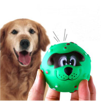 Wholesale Various Colours Lovely Face Molar Dog Ball With Squeaker Sound Puppy Pet Dogs Chew Toy free ship