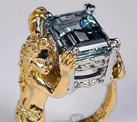 GIA 18K Or jaune Platine 7.59 ct Aquamarine Diamond Womens Mermaid Ring