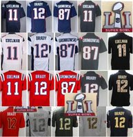 Wholesale Mens Super bowl SuperBowl LI Patch Julian Edelman Tom Brady Jerseys Rob Gronkowski Pro Bowl Red White Green Sault To Service