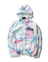Wholesale New Men World Tour Tie Dye Color Gradient Thin Coat Ice Cream Sunscreen Sportwear Jacket HipHop Windbreaker Hoodies