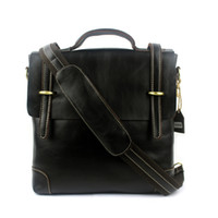 Wholesale Genuine Leather Men messenger Bag Carry on Flap Cross body soft cowhide Black leather White stitching
