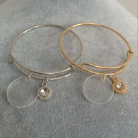 Wholesale Fashion Personalized Acrylic Paved Crystal Charm Adjustable Bangle Jewelry Monogram Clear Disc Charm Bangle Bracelet
