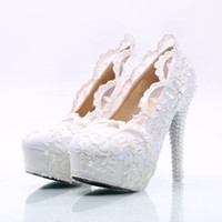 Wholesale Sweet flowers lace waterproof high heels rhinestone shoes bridal dress shoes wedding women shoes customized shoes heel high cm