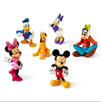 Plastics 1:35 Movie & TV Wholesale- 6PCS MICKEY MOUSE CLUBHOUSE Figure Set Mickey Minnie Goofy PVC TOY Cake Topper Xmas kids gift