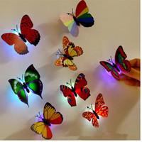 Coloridos fibra óptica mariposa luz nocturna 1W LED mariposa para la noche de la boda de la habitación luz de la decoración del partido de pared luces JF-856
