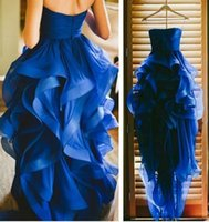 beautiful bones - Royal Blue Homecoming Dresses Strapless Hi lo Organza Ruffle Skirt Elegant and Beautiful Party Evening Gowns