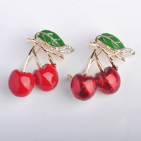 Wholesale Russia Enamel Esmalte Red Double Cherry Brooches For Girl Kids Cute Fruit Broches Hijab Scarf Pins Dress Hat Clip Bijoux Jewelry