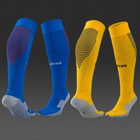 Wholesale good quality soccer socks original style home blue away yellow football calcetines chaussettes for atletico madrid