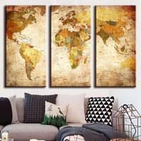 Горячая Холст продаж Картина Art Unframed 3 шт Урожай World Map полотнами Wall Pictures Home Decor JC0361