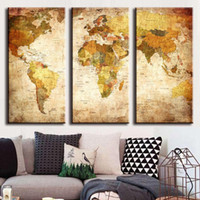 Wholesale Hot Sales Canvas Painting Art Unframed Pieces Vintage World Map Canvas Paintings Wall Pictures Home Decor JC0361
